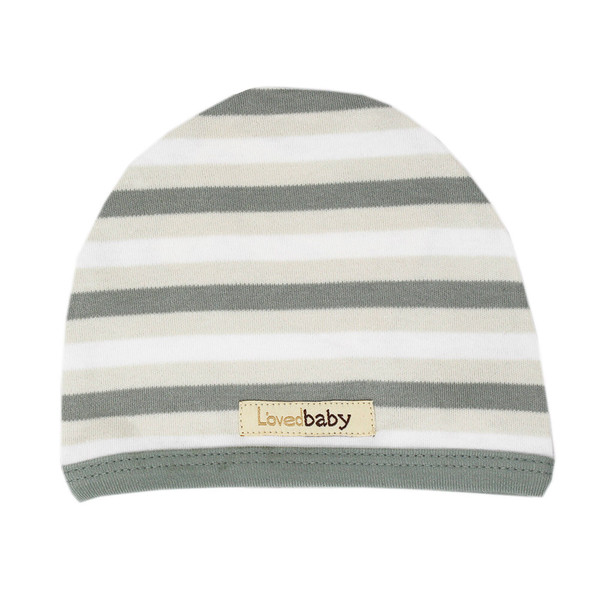 Organic Cute Cap in Seafoam Stripe, Flat