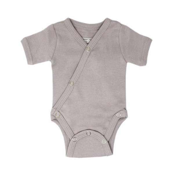 Organic Short-Sleeve Kimono Bodysuit in Light Gray, Flat