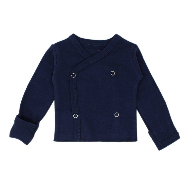 Organic Wrap Shirt in Navy, Flat