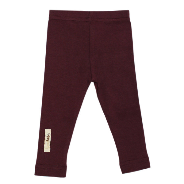 Organic Leggings in Eggplant, Flat