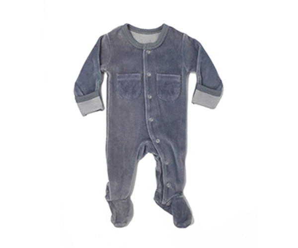 Organic Velour Footed Overall in Light Gray, Flat
