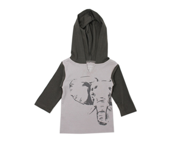 Organic Kids' Hoodie in Light Gray Elephant, Flat