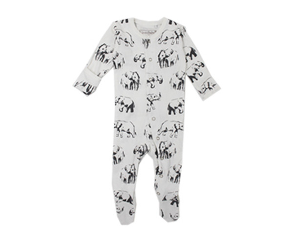 Organic Footed Overall in White Elephant, Flat