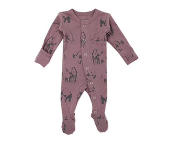 Organic Footed Overall in Lavender Elephant, Flat