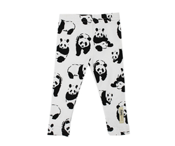 Organic Leggings in White Panda, Flat