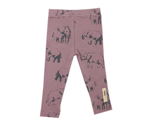 Organic Leggings in Lavender Elephant, Flat