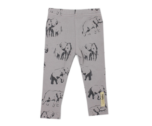 Organic Leggings in Light Gray Elephant, Flat