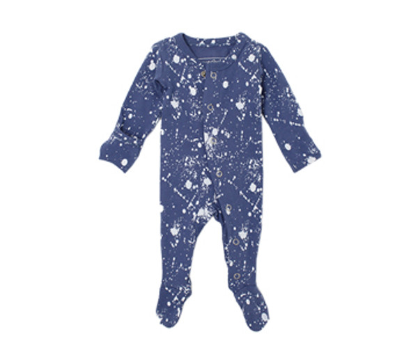 Organic Footed Overall in Slate Splatter, Flat