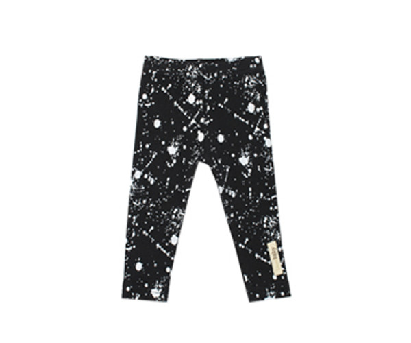 Organic Leggings in Black Splatter, Flat