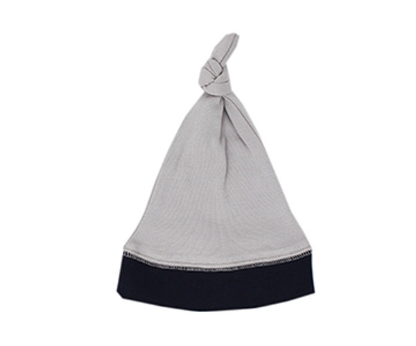 Organic Knotted Cap in Navy/Light Gray, Flat