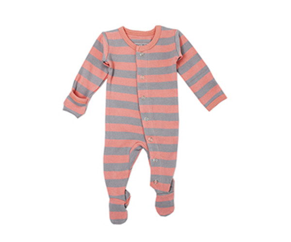 Organic Footed Overall in Coral/Light Gray Stripe, Flat