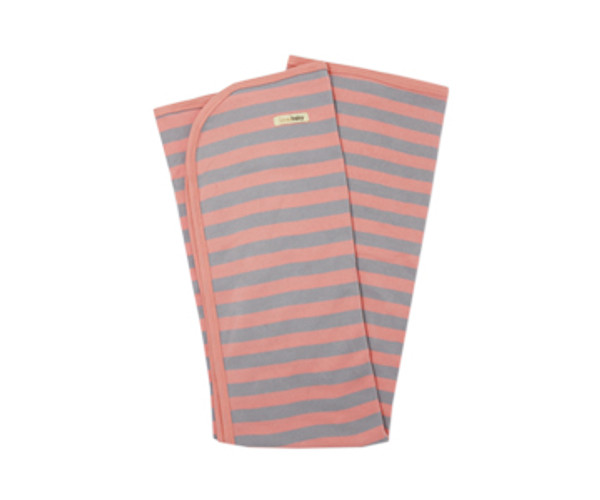 Organic Swaddling Blanket in Coral/Light Gray Stripe, Flat