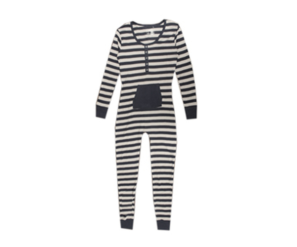 Organic Women's Onesie in Navy/Light Gray Stripe, Flat
