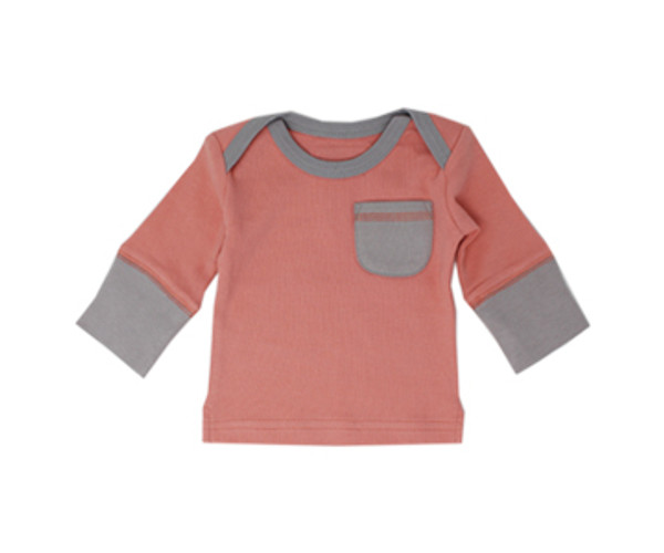 Organic Graphic L/Sleeve Tee in Coral/Light Gray, Flat