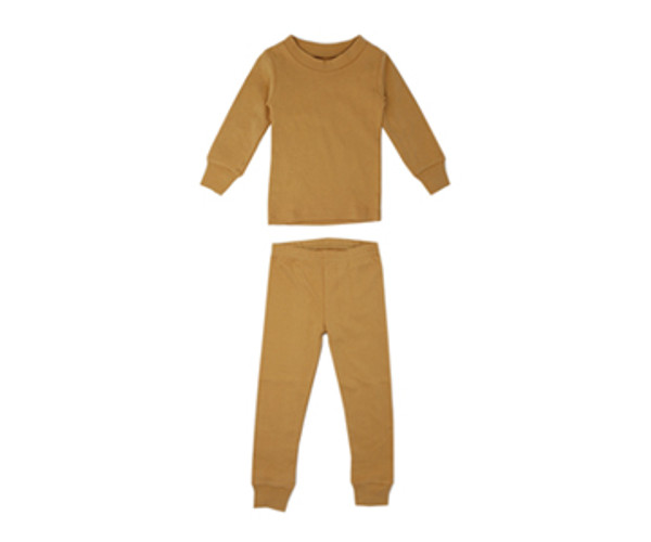 Organic Kids' L/Sleeve PJ Set in Honey, Flat
