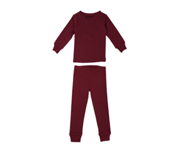 Organic Kids' L/Sleeve PJ Set in Cranberry, Flat
