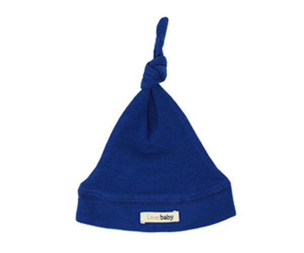 Organic Thermal Knotted Cap in Sapphire, Flat
