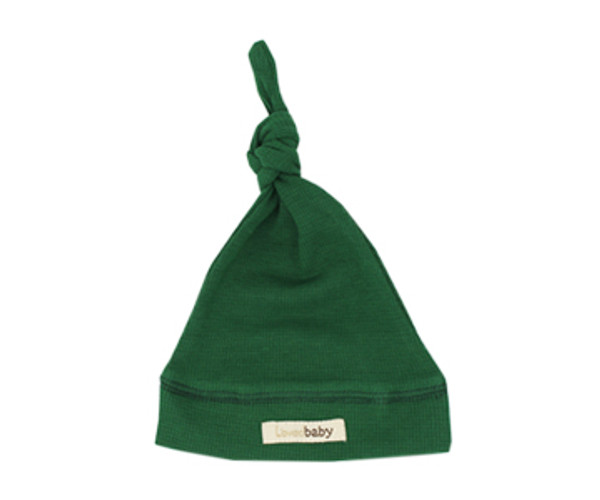 Organic Thermal Knotted Cap in Emerald, Flat