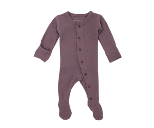 Organic Thermal Footed Overall in Amethyst, Flat