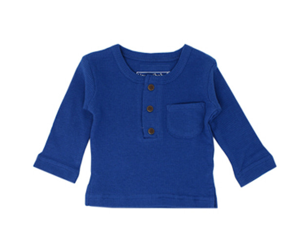 Organic Thermal L/Sleeve Shirt in Sapphire, Flat