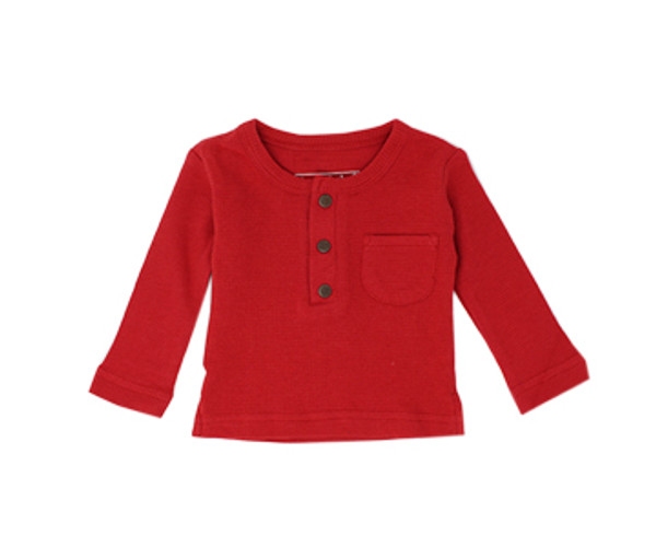 Organic Thermal Kids' L/Sleeve Shirt in Ruby, Flat
