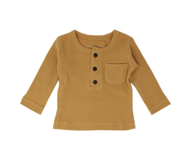 Organic Thermal Kids' L/Sleeve Shirt in Topaz, Flat