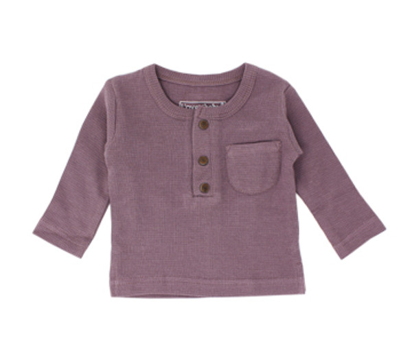 Organic Thermal Kids' L/Sleeve Shirt in Amethyst, Flat