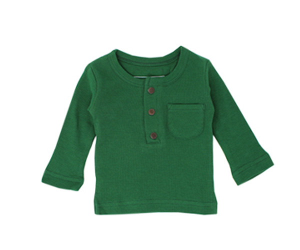 Organic Thermal Kids' L/Sleeve Shirt in Emerald, Flat