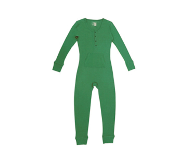 Organic Thermal Women's Onesie in Emerald, Flat