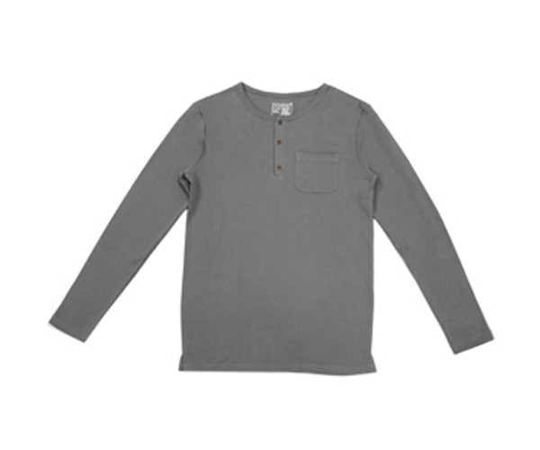 Organic Thermal Men's L/Sleeve Shirt in Graphite, Flat