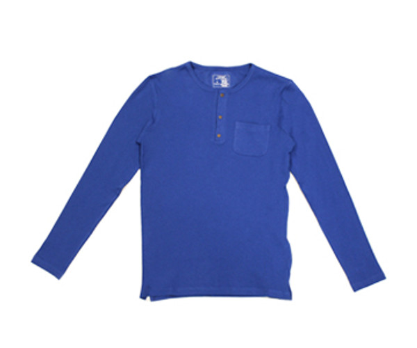 Organic Thermal Men's L/Sleeve Shirt in Sapphire, Flat