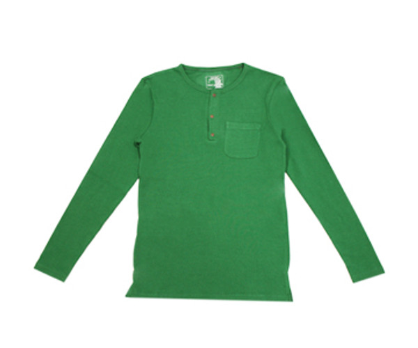 Organic Thermal Men's L/Sleeve Shirt in Emerald, Flat