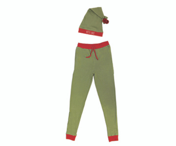 Organic Men's PJ Bottoms & Cap Set in Mistletoe, Flat