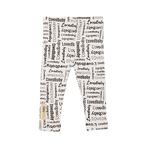 Organic Leggings in White Signature Print, Flat