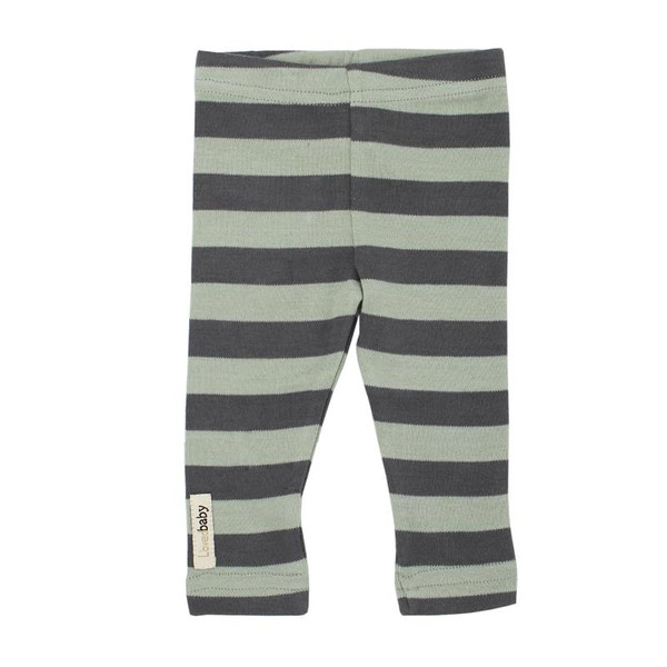 Organic Leggings in Gray/Seafoam Stripe, Flat
