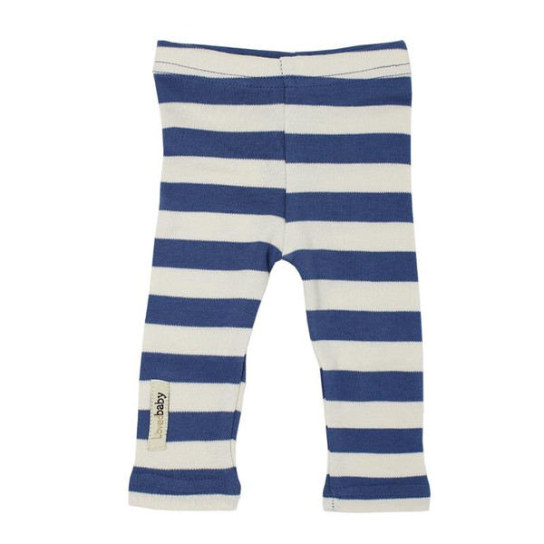 Organic Leggings in Slate/Beige Stripe, Flat