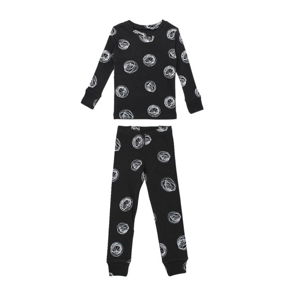 Organic Kids' L/Sleeve PJ Set in Spheres, Flat