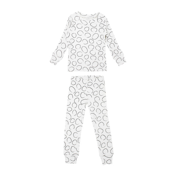 Organic Kids' L/Sleeve PJ Set in Pebbles, Flat