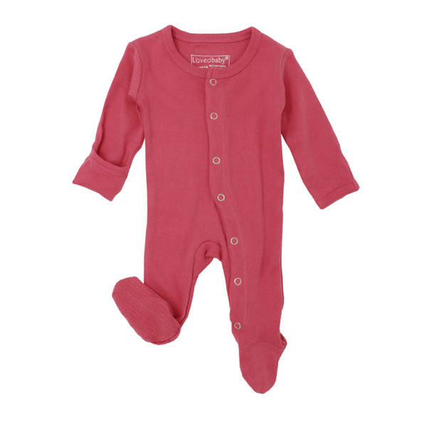 Organic Footed Overall in Berry, Flat