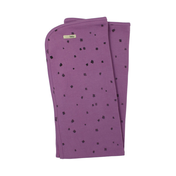 Organic Swaddling Blanket in Grape Hatch, Flat