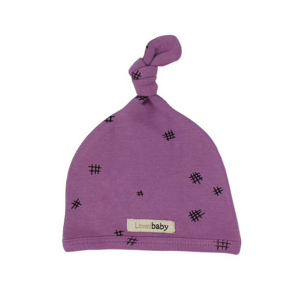 Organic Top-Knot Hat in Grape Hatch, Flat