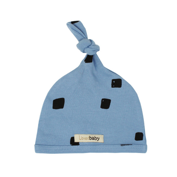 Organic Top-Knot Hat in River Stone, Flat