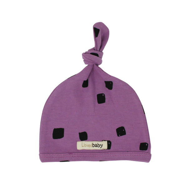 Organic Top-Knot Hat in Grape Stone, Flat