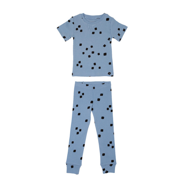 Organic Kids' L/Sleeve PJ Set in River Stone, Flat