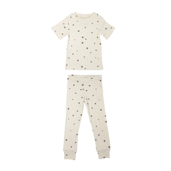 Organic Kids' L/Sleeve PJ Set in Beige Hatch, Flat