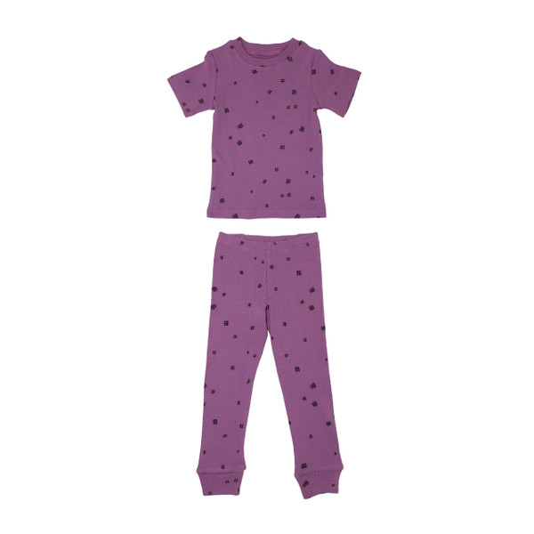 Organic Kids' L/Sleeve PJ Set in Grape Hatch, Flat