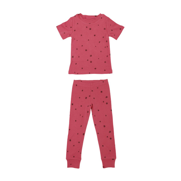 Organic Kids' L/Sleeve PJ Set in Berry Hatch, Flat