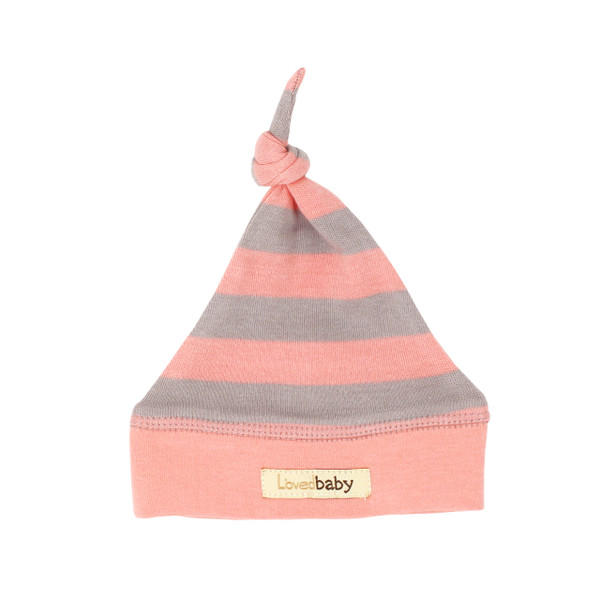 Organic Banded Top-Knot Hat in Coral/Light Gray Stripe, Flat