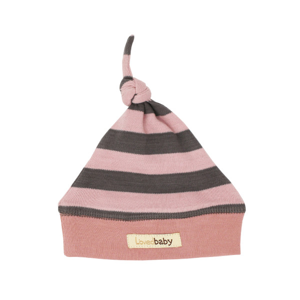 Organic Banded Top-Knot Hat in Mauve/Gray Stripe, Flat