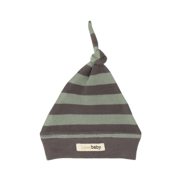 Organic Banded Top-Knot Hat in Gray/Seafoam Stripe, Flat